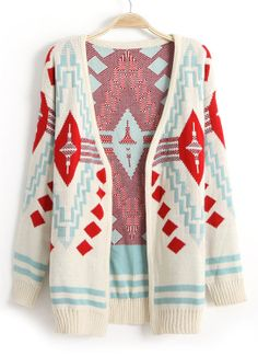 Beige Long Sleeve Diamond Patterned Cardigan in White, Red, and Light Blue. Love the color combo!