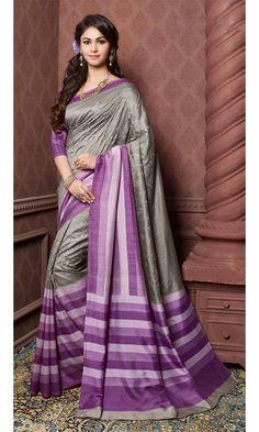 #Purple and #Gray #Bhagalpuri #Printed #Saree, #Printed #Bhagalpuri #Silk #Sarees Collection, http://www.ishimaya.com/sarees/all-collections.html – Ishimaya