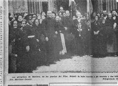 Spain - 1938. - GC - Cuando en marzo de 1938 las tropas de Franco toman Muniesa, encontraron metido este crucifijo en un barril lleno de harina, y lo consideraron milagro. Poco después, las gentes de Muniesa realizaban peregrinacion andando al Pilar de Zaragoza, a darle gracias a la Virgen. Los vecinos de Muniesa llevaron el crucifijo aparecido milagrosamente en dicha procesión y al llegar a Zaragoza, les hicieron fotos. Alguien se dio cuenta que este era el Cristo que había en Plenas…