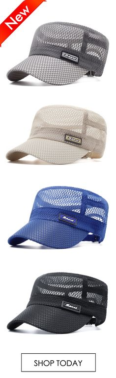 reputable site 87eb9 62bf5 Men Summer Outdoor Mesh Breathable Flat Hat Quick-Drying Casual Sunscreen  Visor Hat