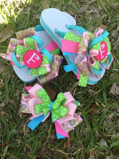 Monogram Ribbon Flip flops  by SissyGirlsCreations on Etsy, $25.00