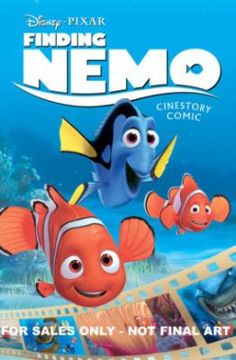 Finding Nemo : cinestory comic by Alberto Garrido. On the first day of school, precocious young clownfish Nemo swims too close to the surface. Plucked from the ocean waters by a diver, Nemo finds himself the newest addition to a dentist-office aquarium at the edge of Sydney Harbour. And so his fretful father, Marlin, teams up with lovable and forgetful blue tang, Dory, on an amazing journey across the ocean to bring Nemo back home.
