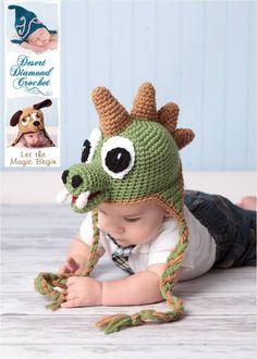 Crochet Pattern 005 - Dinosaur Earflap Beanie Hat - All Sizes. $5.95, via Etsy.