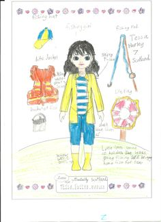 Lottie Outfit Design Competition - Tessa age 7, from Scotland, has designed a fishing outfit for Lottie. We think she looks fantastic. We love it! Thanks for sharing! :)