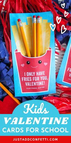 Looking for creative and unique kids valentines for school and Valentine's Day classroom parties? I've got you covered with this French Fry valentine card! These DIY valentines are so easy to assemble. The printable is available in my Etsy shop. Just pair it with a few pencils for a super cute little Valentine's Day gift for kids! Be sure to head to justaddconfetti.com for a ton of fun and simple kids valentines ideas.