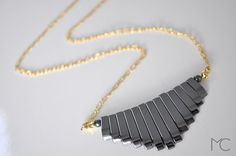 Hematite Gold filled Necklace by mariacorcuera on Etsy, €40.00