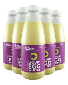 Each 6kg pack of Active Foods™ Liquid Egg Whites contains a huge 192 egg whites. Each pack consists of 6 bottles, containing 32 egg whites each, all pre-separated for you – meaning no mess, no fuss, no hassle, no waste and time saved!   If you're looking for a pure protein food source then look no further... Active Foods™ Liquid Egg Whites contain only 1% carbohydrate and 0.5% fat.  http://www.bulkpowders.co.uk/shop-by-category/protein-supplements/egg-protein/liquid-egg-whites.html.