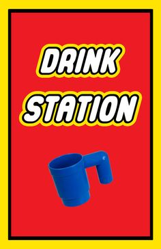 Lego Party Food Station Sign 11x17  Drink Station  Red