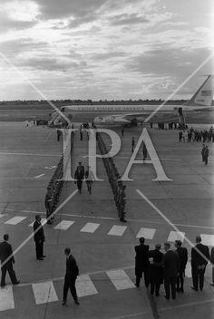- President John F. Kennedy lands at Dublin Airport where he was was greeted by President Éamon de Valera and Taoiseach Seán Lemass. See more photos like this at www. Dublin Airport, John F Kennedy, History Photos, Photo Archive, Jfk, More Photos, Presidents, Ireland, Irish
