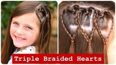 Triple Braided Hearts | Valentine's Day Hairstyles | Cute Girls Hairstyles