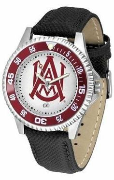 Alabama A & M Men's Leather Sports Watch by SunTime. $68.95. Men. Date Calendar And Rotating Bezel. Adjustable Band. Poly/Leather Band. Officially Licensed AAMU Bulldogs Men's Leather Sports Watch. Alabama A Bulldogs men's leather wristwatch. Alabama A & M Bulldogs wrist watch features functional rotating bezel color-coordinated to compliment team logo. A durable, long-lasting combination nylon/leather strap, together with a date calendar, round out this bes...