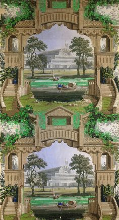 Wallpaper illustrating the Crystal Palace, about Museum no. A N Wallpaper, Designer Wallpaper, Hyde Park, Crystal Palace Wallpaper, Elgin Marbles, Marlborough House, Garden Archway, Exhibition Building, Glass Structure