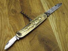 vtg COURSOLLE Depose FRANCE antique FRENCH POCKET KNIFE brass handle CORKSCREW  #Coursolle