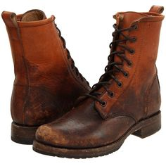 Frye Veronica Combat (Cognac Stone Wash) Women's Lace-up Boots ($150) ❤ liked on Polyvore featuring shoes, boots, ankle boots, brown, brown ankle boots, brown boots, lace up combat boots and combat booties