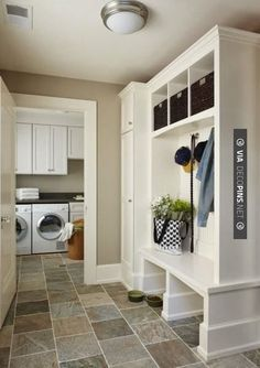 I like how the mud room is separate from the laundry. Don't want the dogs in the laundry room. Would love a big closet in mud room for all jackets. Mudroom Laundry Room, Laundry Room Design, Mudroom Cubbies, Bathroom Laundry, Laundry Area, Small Laundry, Small Bathroom, Master Bathroom, Bleeker Beige