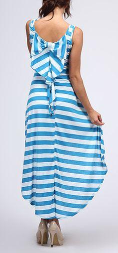 Turquoise Back-Ruffle Hi-Low Dress