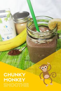 The perfect party of chocolate, bananas, nut butter, maple water, and almond milk. This Chunky Monkey Maple Smoothie is a vegan's sweet dream! Chunky Monkey Smoothie, Water Recipes, Nut Butter, Perfect Party, Almond Milk, Bananas, Vegan, Chocolate, Sweet