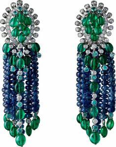 Cartier Emerald, Sapphire and Diamond Earrings