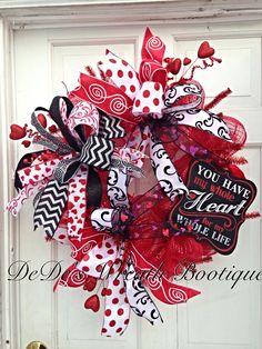 Valentine's Day Wreath-Red Deco Mesh Wreath-Valentine's Day Deco Mesh Wreath