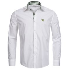 Trachtenhemd Slim Fit zweifarbig in Weiß und Grün von Gweih und Silk