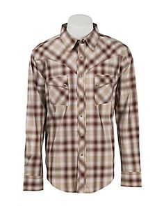 Wrangler Men's Vintage Rust & Khaki Plaid L/S Western Shirt