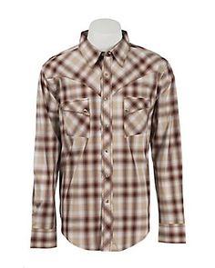 Wrangler Men's Vintage Rust & Khaki Plaid L/S Western Shirt