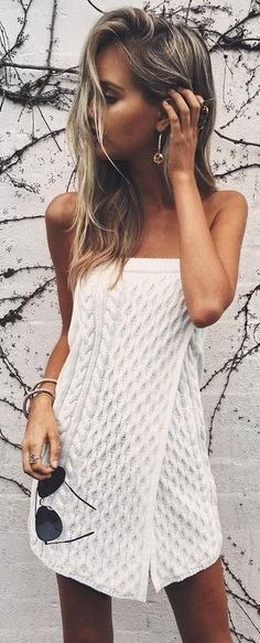 #summer #american #style | White Wrap Cable Knit Dress