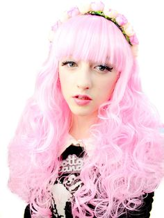 Pink Friday - Long Curl Synthetic Costume Wig $34.99 | Wigs | ABHAIR.COM