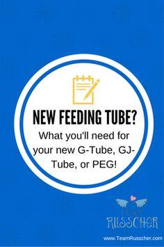 New Feeding Tube?  Here's a great list of items you need to get before you leave the hospital!  G-Tube, Gtube, PEG Tube, GJ Tube, Tubie