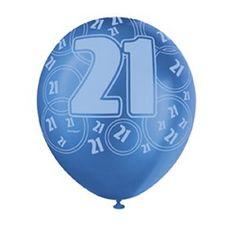 21st Birthday Themed Blue Balloons - 21st Birthday Decoration Ideas