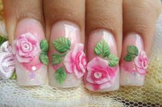 Pink acrylic rose nails