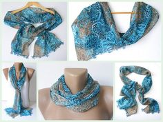 scarf  women scarves with lace new design shawl / by seno on Etsy, $15.00