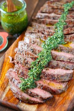 Grilled flank steak with homemade chimichurri sauce