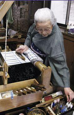 Shimura Fukumi - Weaver, Writer, Designer, Dyer and Teacher (b. Omihachirin, Shiga Prefecture, Japan 1924 ). In 1990 she was designated a Living National Treasure of Japan for her Tsumugi (kimono) plant-dyed silk fabrics