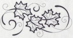 Inky Maple Leaves Border