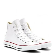 Converse Chuck Taylor All Star Leather High-Top Sneakers (1.810 ARS) ❤ liked on Polyvore featuring shoes, sneakers, converse, sapatos, white, leather hi top sneakers, lace up sneakers, white leather sneakers, converse high tops and white high tops