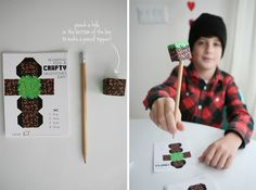 minecraft valentines box pencil toppers via seejaneblog