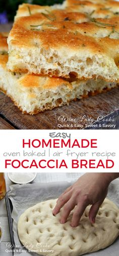 Easy Homemade Focaccia Bread can be made in the air fryer or oven baked using a pizza dough. Focaccia bread is a delicious substitute for store bought bread with your meal and can also be served as an appetizer for family gatherings or parties. Homemade Focaccia Bread, Focaccia Bread Recipe, Keto Bread, Bread Baking, Bread Recipes, Cooking Recipes, Easy Bread, Homemade Breads, Gourmet Recipes