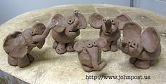 Clay elephants by students in my fifth grade class.