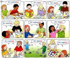 Deutsch lernen Präpositionen Mit Akkusativ, German Language Learning, Learn German, Homeschool, Germany, Comics, Dil, Pictures, German Language