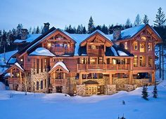 No, that's not a ski lodge — that's a massive stone-and-timbered mountain mansion. #Whitefish #MT
