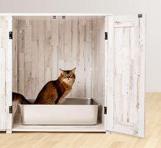 Litter Box Farmhouse Style Credenza | Litter-Robot Litter Robot, Rustic White, Modern Farmhouse Style, Cat Furniture, Credenza, Plank, Living Spaces, Box, Home Decor