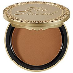 Too Faced : Chocolate Soleil Medium/Deep Matte Bronzer. #sephora. This bronzer lasts me 3x as long as NARS Laguna & smells like a yummy cup of hot chocolate! I use this matte formula for contouring & not all over glow.