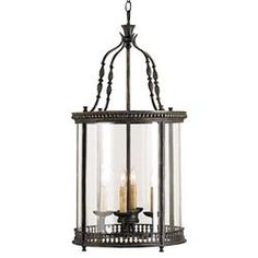 Gardner Vintage Glass Panels French Black 4 Light Lantern Pendant | Kathy Kuo Home