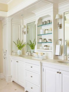 Chic, elegant master bathroom design with white & black Victorian penny tiles floor, white bathroom cabinets with marble counter tops, double sinks and polished nickel faucets. All White Bathroom, Small Bathroom, White Bathrooms, White Traditional Bathrooms, Luxury Bathrooms, Bathroom Modern, Houzz Bathroom, Master Bathrooms, Minimalist Bathroom