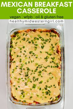 A hearty, healthy vegan breakfast casserole — with hash brown potatoes, peppers, refried beans and corn tortillas — smothered in enchilada and cheese sauces. Mexican Breakfast Casserole, Breakfast Enchiladas, Hashbrown Breakfast Casserole, Mexican Breakfast Recipes, Breakfast Pizza, Breakfast Bowls, Vegan Finger Foods, Vegan Foods, Vegan Mexican Recipes