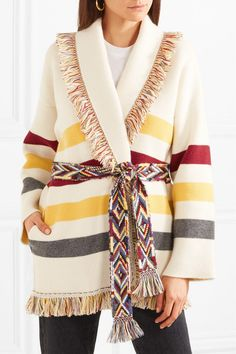 ALANUI gorgeous Fringed jacquard-knit cashmere cardigan