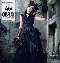 M2050BELLE NOIR, /Gothic, Lolita, Geisha Assassin BrideTop, Detached Sleeves, Overskirt, Skirt and Fascinator