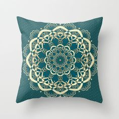 Decorative pillows, mandala design pillow cover, teal, deep sea green with gold (yellow, not a real gold) or black floral background. The