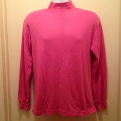 Pink Lavon Size Large Polyester Cotton Long Sleeve Turtle Neck Top #Levon #Turtleneck #CasualCareer
